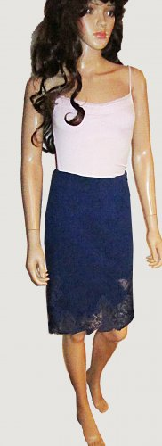 Victoria's Secret $80 Seasonless Ponte Lace Bottom Navy Blue Skirt Size 8  278408