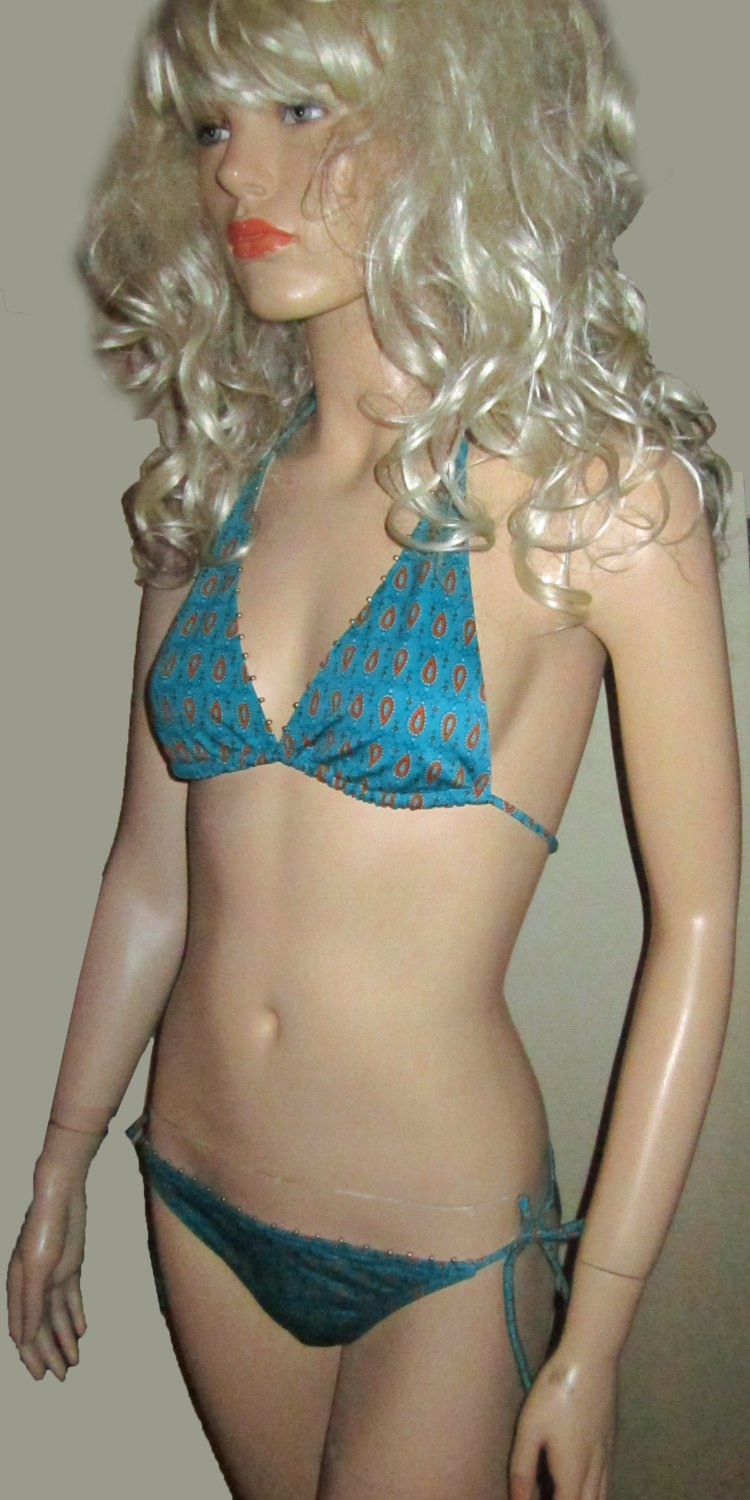 New Victoria�s Secret Brass Trim Teal Bikini Medium 197320