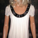 Victoria's Secret $98 Long Black Sequin Trim Silk Short Sleeve White Top Medium  219756