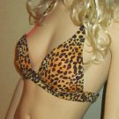 Victoria's Secret Push-up Padded Gold & Black Animal Print Bikini Small  228419s