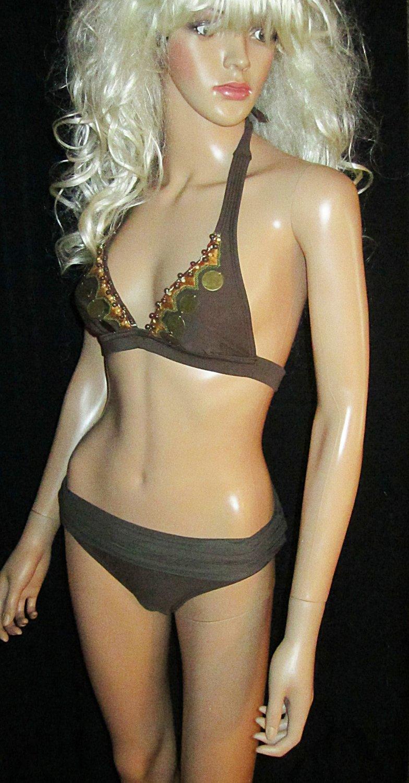 Victoria�s Secret $140 Vix Brown Beaded & Brass Bikini Small  195479