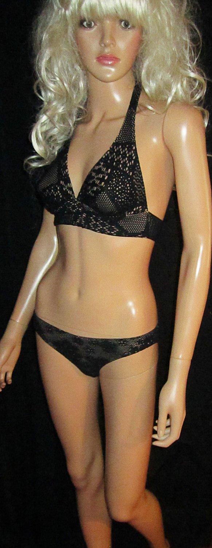 Victoria's Secret Black Banded Fully Lined Crochet Bikini XS 169948