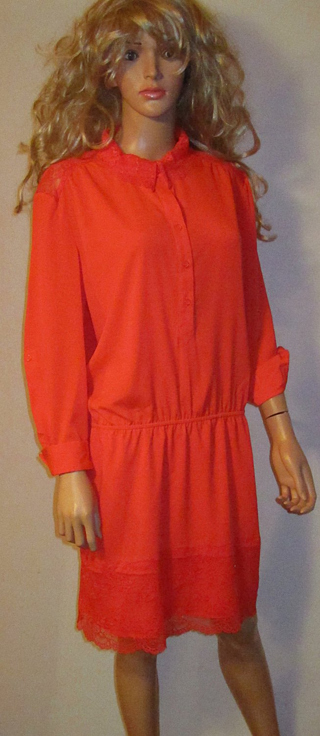 Victoria's Secret Lace Detail Bittersweet Red Orange Shirt Dress XL 302331