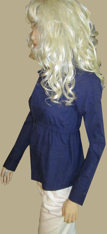 Victoria's Secret $88 Zipper Out Sleeve Dark Nautical Poplin Shirt Jacket Blazer 0 283195
