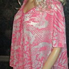 Victoria's Secret Pink & White Poncho Style Tie Front Top Medium 296155