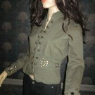 New Victoria's Secret $128 Brass Studded Green Cotton Jacket Blazer Medium  198975