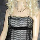 Ann Taylor $129 Black Lace Over Silver Lining Sleeveless Cami Tank Top 4P 81673