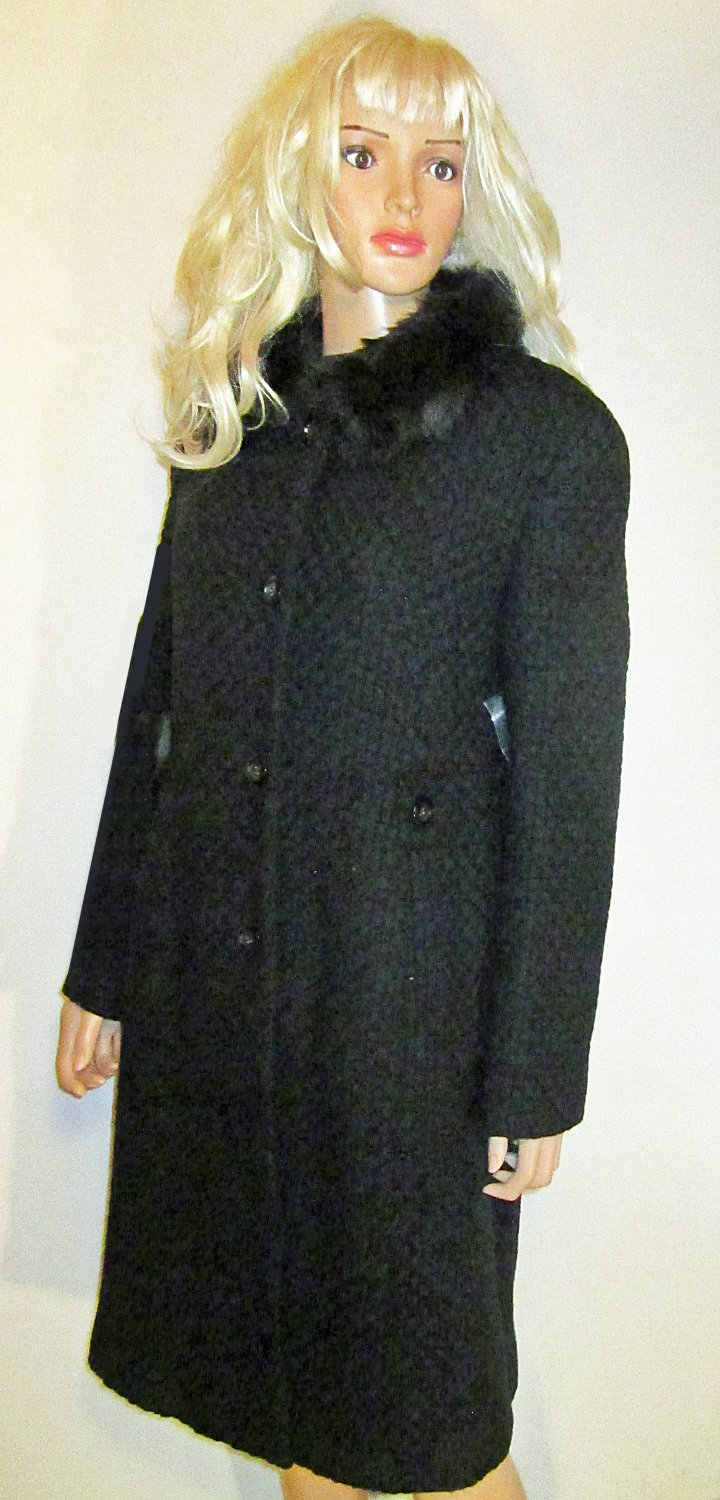 Victoria's Secret $159 Textured Black Wool Coat Size 14  176617
