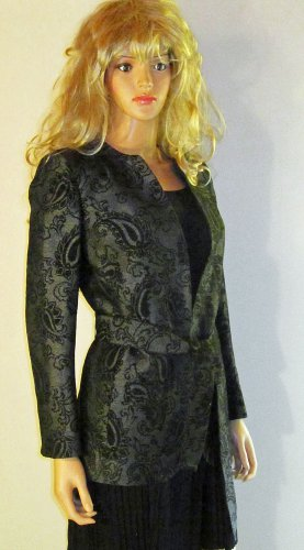 NWT Linda Allard Ellen Tracy Long Belted Gray & Black Blazer Jacket 6   264444