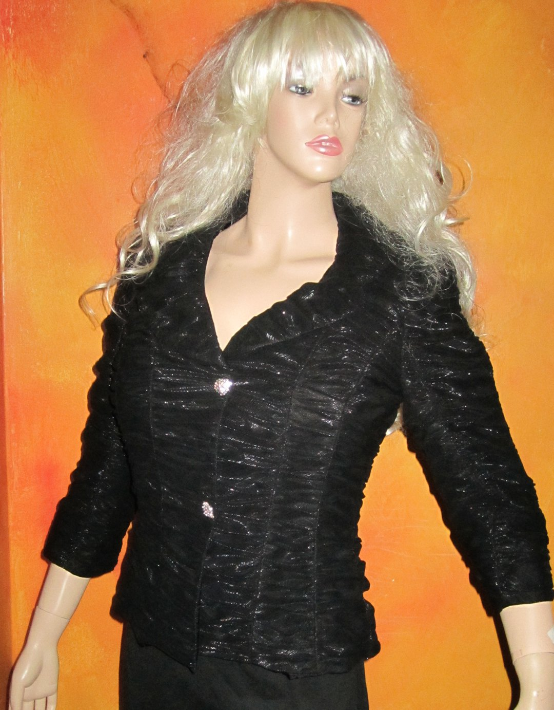 Cachet Black Shimmery Tulle Evening Formal Jacket Blazer 8 850903
