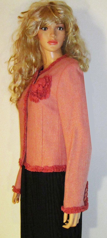 Victoria�s Secret $148 Pink Herringbone Wool Blazer size 10  175223
