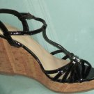 NIB Victoria's Secret $85 Black Patent Leather Platform Wedge Sandals 10 239704