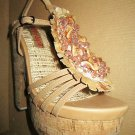 Two Lips $129 Tan Embellished Beaded Cork Heel Platform Sandal 6  281018