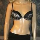 Victoria's Secret $82 Bombshell Plunge Black White Push-Up 32B Bra Set 289414
