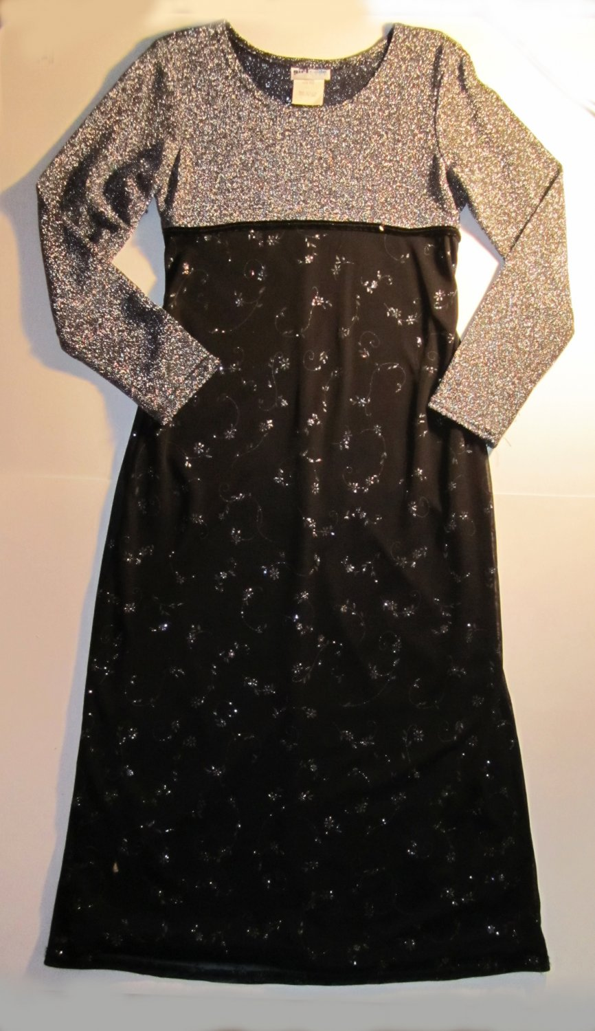 Girl Code $88 Girls Silver & Black Long Sleeve Party Dress Girls Size 12  TG21