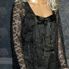 Victoria's Secret Black Lace Long Sleeve Tunic Top Small  219605