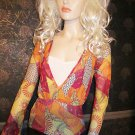 Victoria's Secret Summer Weight Red Orange Gold Long Sleeve Top XS 194436