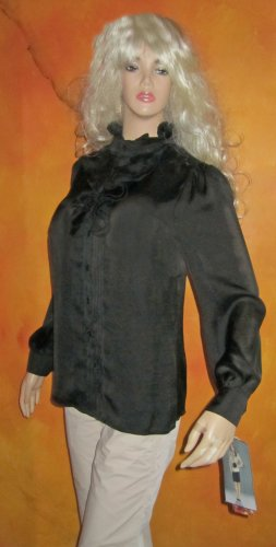 NWT Lapis Black Pleated Ruffle Front Blouse Shirt Medium Medium 481304