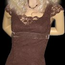 Victoria's Secret Brown Lace Cap Sleeve Top XS 199732