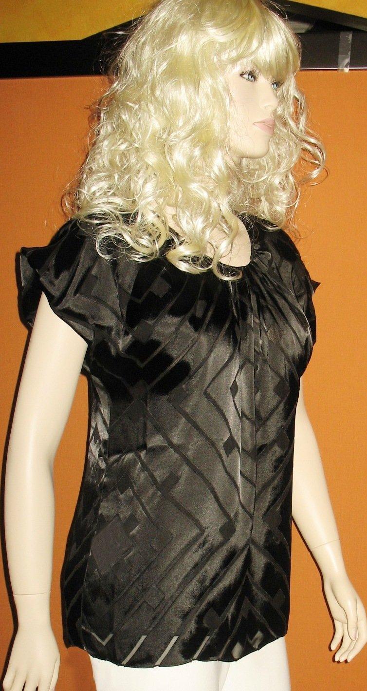 Calvin Klein Black Short Sleeve Lined Silk Long Blouse Top Medium  172309