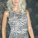 Carole Little Beaded Sequin Sleeveless Black & White Ruffle Top Large  717789