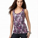 NWT Style & co. Sleeveless Black & Purple Sequin Long Tank Top Petite Large 600250