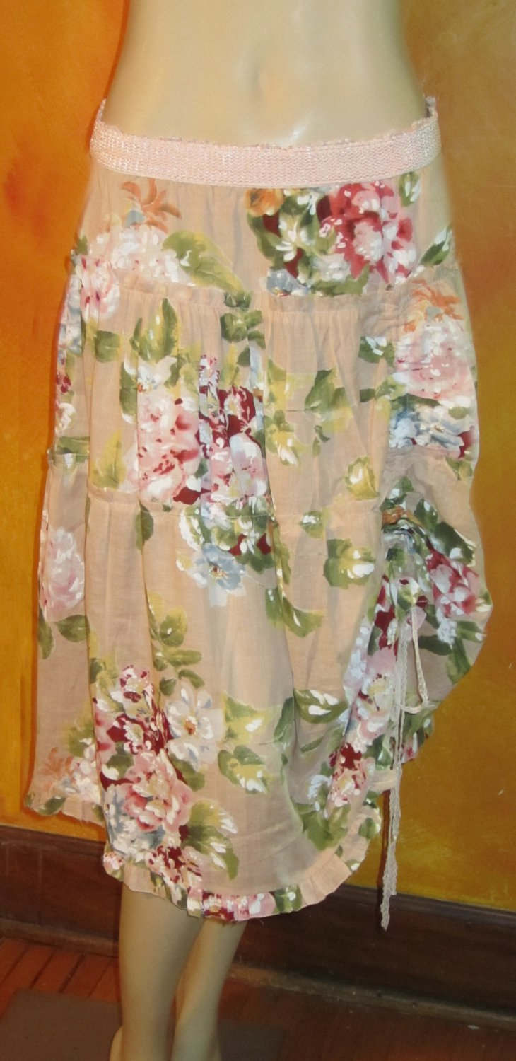 Victoria�s Secret Lined Pink & Beige Cotton Long Floral Skirt 10   193445