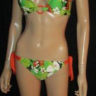 Victoria's Secret $98 OP Black Green Orange Jungle Print O Ring Bikini Medium 195222