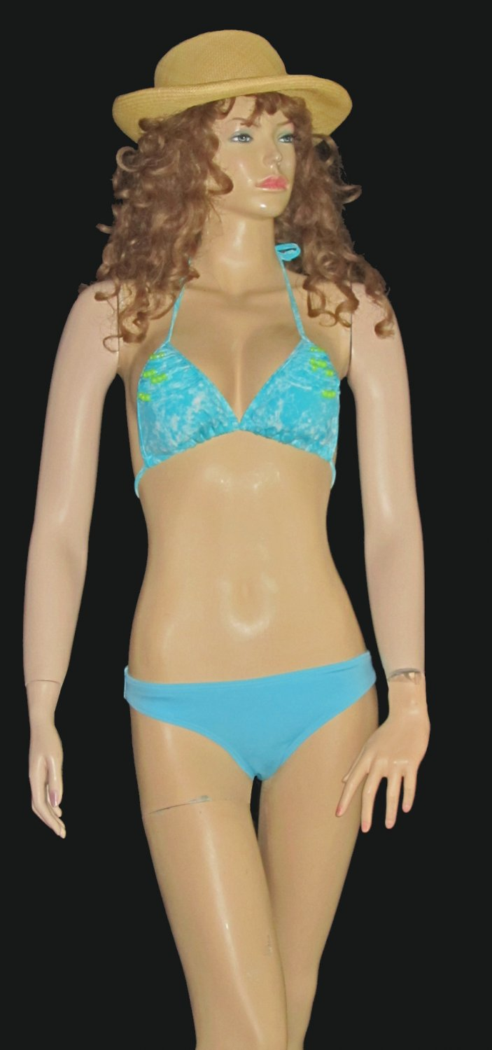 Victoria's Secret Beaded Turquoise Push-Up Bikini Large Top Medium Bottom 266704