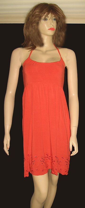 Victoria's Secret Orange Halter Sun Dress Small 197390