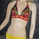 Victoria's Secret Banded Bombay Yellow Earth Tone Halter Bikini Medium Large 181813
