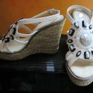 NIB Victoria's Secret Two Lips $169 White Embellished Beaded Platform Wedge Sandals 8 266672