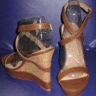 Victoria's Secret $78 Strappy Brown Wedge Platform Sandals 9  297131
