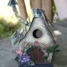 Bird House with Hummingbird Flowers and Chimney made of Tin