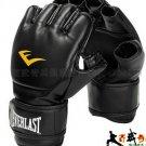 Everlast boxing gloves, protect thumb black MMA Gloves, half finger glove