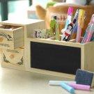 creative wooden drawer blackboard pen holder