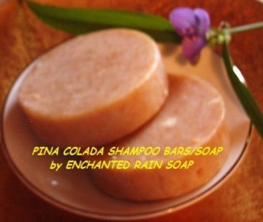 2 Pina Colada Shampoo Bars/Soap Luxury*Round*Tropical Scent*Handmade*Great Hair