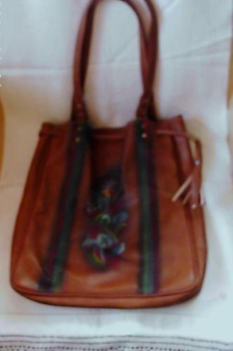 Hippie Handbag Painted Flower Power Bag Lt. Brown/Red/Aqua/Yellow*Drawstring