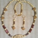 BONE, MOUKAITE, SEED, & WOOD NECKLACE SET Item 738
