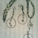 GREEN PREHINITE & GUNMETAL WIRE WORK NECKLACE SET Item 732