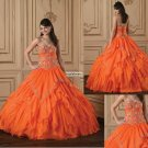 Organge  color Strapless  Frilled  Ball  Gown