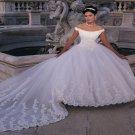 Off-shoulder  Lace  tail   Bridal  dress