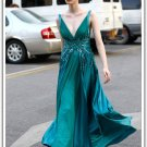 Long  V-neck  taffeta  evening  dress