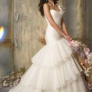 One  shoulder sweatheart  tulle  wedding  gown