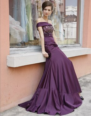 2010  Off-shoulder  beaded  train length evening  dress