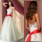 Strapless Sash Tie up   prom  gown