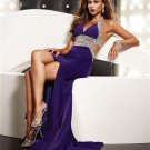 Gorgeous Purple  Beaded  V Neck  prom dress