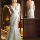Dazzling Deep V neckline Wedding Dress
