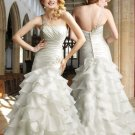One  Shoulder  Ruffled Bridal Gown