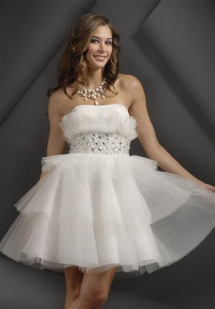 White  Beaded  A-line  cocktail  dress